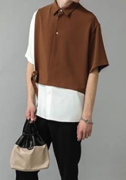 リコカツ 水無月 連役・白洲迅 ブラウンxホワイトのシャツ