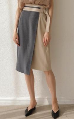 zip ミトちゃん ブルーxベージュのナロースカート