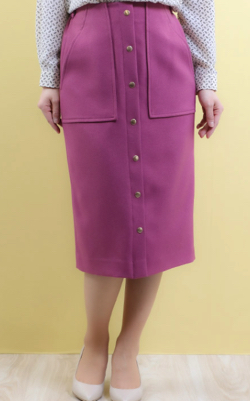 ZIP!水卜麻美 (ミトちゃん) パープルのフロントボタンタイトスカート