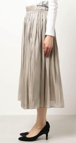 ZIP!水卜麻美 (ミトちゃん) ベージュのギャザースカート