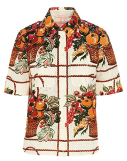 笑ってコラえて佐藤栞里 アイボリーのフルーツバスケットシャツ