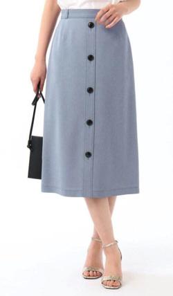 ZIP!水卜麻美 (ミトちゃん) ブルーのフロントボタンスカート