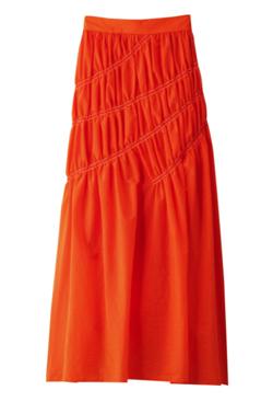 あざとくて何が悪いの?弘中綾香 オレンジのワッシャーアシメシャーリングスカート