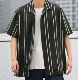 【家族募集します】仲野太賀(小山内蒼介)ドラマ衣グリーンのストライプ柄シャツ