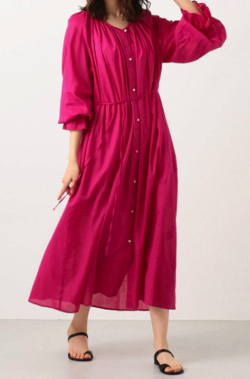 zip石川みなみ ピンクのシャツワンピース