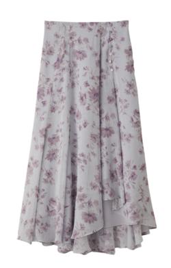 ZIP!貴島明日香グレーのフラワープリントスカート