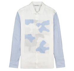 MUSIC BLOOD・田中圭・千葉雄大ホワイトxライトブルーのシャツ