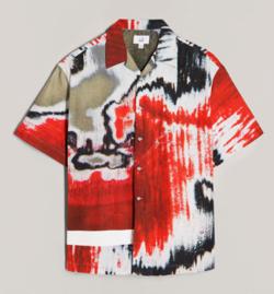 MUSIC BLOOD・田中圭・千葉雄大レッドのグラフィックプリントシャツ