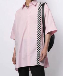 MUSIC BLOOD・田中圭・千葉雄大ピンクのチェッカーシャツ