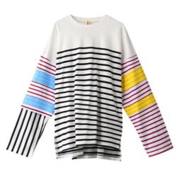 プロミスシンデレラドラマ衣装・二階堂ふみホワイトのマルチボーダーTシャツ