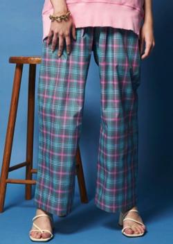 ボクの殺意が恋をした・新木優子衣装ブルーのシアーチェックパンツ
