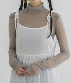 ボクの殺意が恋をした・田中みな実ドラマ衣装グレーのシアーハイネックインナーカットソー