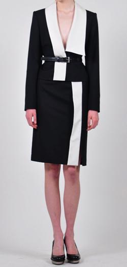 【彼女はキレイだった(かのきれ)】佐久間由衣(桐山梨沙)衣装ブラックxホワイトのバイカラードレス
