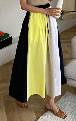 推しの王子様(推しプリ)・白石聖・佐野ひなこ・徳永えり・宮司愛海ドラマ衣装イエローxホワイトの配色スカート