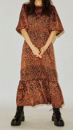 イタイケに恋して・石井杏奈衣装ブラウンのレオパード柄ワンピース
