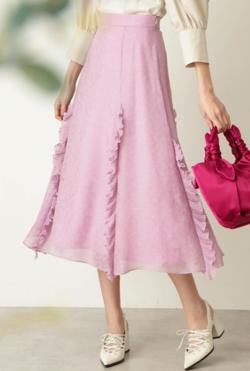 ZIP!・石川みなみ衣装ピンクのジャガードスカート