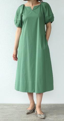 ZIP!水卜麻美 (みとちゃん)衣装グリーンのハーフパフスリーブワンピース
