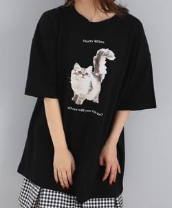 ボクの殺意が恋をした・小西はる衣装ブラックの猫ちゃんプリントTシャツ