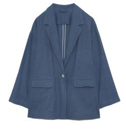 Night Doctor(ナイト・ドクター)岡崎紗絵 ドラマ衣装ブルーのリネンジャケット
