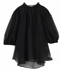ZIP貴島明日香衣装ブラックのギャザーボリュームブラウス