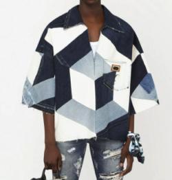 ラウール(Snow Man)・私服・衣装・ファッションブルーxホワイトのデニムパッチワークトップス