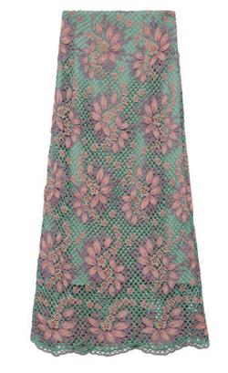 彼女はキレイだった(かのきれ)宇垣美里ドラマ衣装グリーンのフラワーレースロングスカート