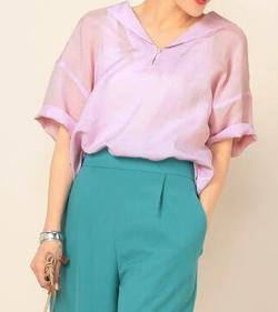ZIP!水卜麻美 (みとちゃん)衣装ピンクのリネンブラウス