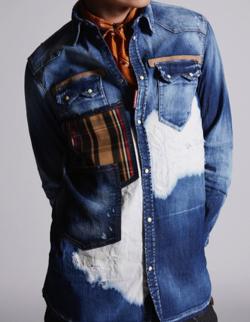 ラウール(Snow Man)・私服・衣装・ファッションデニムのチェックポケットシャツジャケット