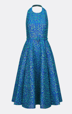 ボクの殺意が恋をした新木優子ブルーのレオパード柄ドレス
