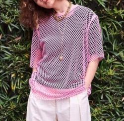 ボクの殺意が恋をした・新木優子衣装ピンクのメッシュTシャツ