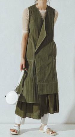 【ボクの殺意が恋をした・第2話】新木優子(鳴宮美月)ドラマ衣装・ファッション/服・アクセ・靴・バッグ・腕時計・小道具など/のブランド(2021/7/11)カーキのノースリーブワンピース