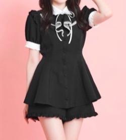 【ボクの殺意が恋をした(ボク恋)第4話】谷まりあドラマ衣装黒いフリルセットアップワンピース