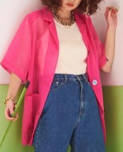 【村瀬紗英】ピンクのシャツ