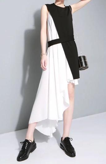 【超踊る!さんま御殿!!】峯岸みなみさん衣装(ワンピース)のブランドはこちら♪(2021/7/13)黒と白のアシメデザインワンピース