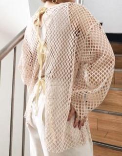推しの王子様(推しプリ)・白石聖・佐野ひなこ・徳永えり・宮司愛海ドラマ衣装【徳永えり】白メッシュのロングトップス