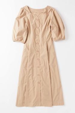 ZIP!水卜麻美 (みとちゃん)衣装ベージュのボリュームスリーブワンピース