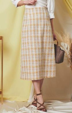めざましテレビ井上清華衣装イエローのツイードスカート