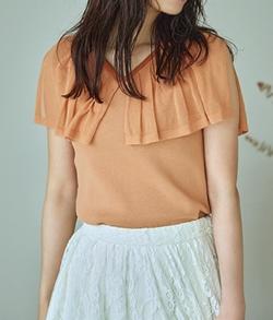 めざましテレビ井上清華衣装オレンジのパイピングケープニット
