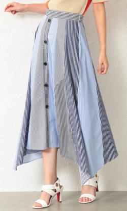 めざましテレビ井上清華衣装ブルーのストライプブロッキングスカート