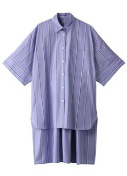推しの王子様(おしプリ)・ドラマ衣装比嘉愛未ブルーのボーダーロングシャツ