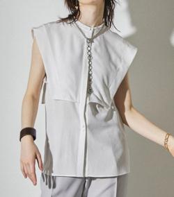 推しの王子様(おしプリ)・ドラマ衣装比嘉愛未ホワイトのフレンチスリーブレイヤードシャツ