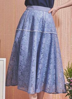 ZIP貴島明日香衣装ライトブルーのフラワーレース切替スカート