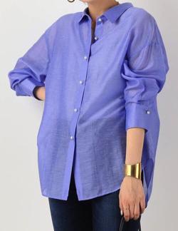スッキリ・岩田絵里奈衣装ブルーのシアーシャツ