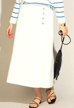 Live News it!加藤綾子衣装ホワイトのデニムフレアスカート