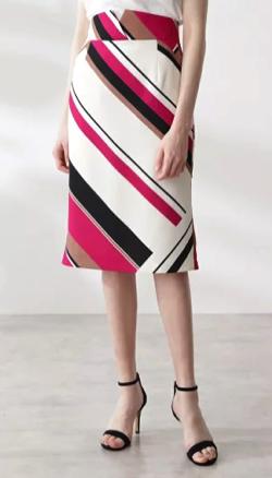 めざましテレビ井上清華衣装ホワイトxピンクのジオメトリックプリントマーメイドスカート