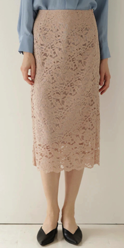 ZIP!水卜麻美 (みとちゃん)衣装   ピンクのレースタイトスカート