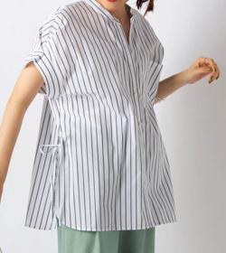 スッキリ・岩田絵里奈衣装ホワイトのストライプ柄シャツ
