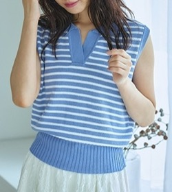 【めざましテレビ】井上清華アナ衣装(シャツ)のブランドはこちら♫(2021/8/5)ブルーのノースリーブボーダー