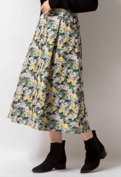 【めざましテレビ】井上清華アナ衣装グリーンの花柄フレアスカート