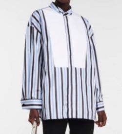 推しの王子様(おしプリ)・ドラマ衣装比嘉愛未ブルーのストライプシャツ